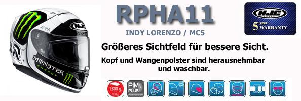 HJC R-PHA 11 REPLICA INDY LORENZO MC5 SCHWARZ WEIß + 1 STARK GETÖNTES VISIER GRATIS